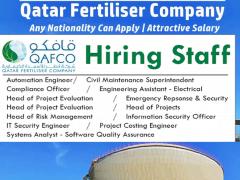 Job Vacancies at QAFCO-Qatar Fertiliser Company | 2021