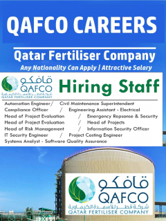 Job Vacancies at QAFCO-Qatar Fertiliser Company | 2021