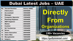Latest Jobs in UAE for the foreigner who are looking job